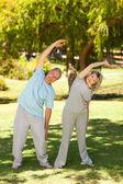Mature couple faisant leur s'étend dans le parc — Photo