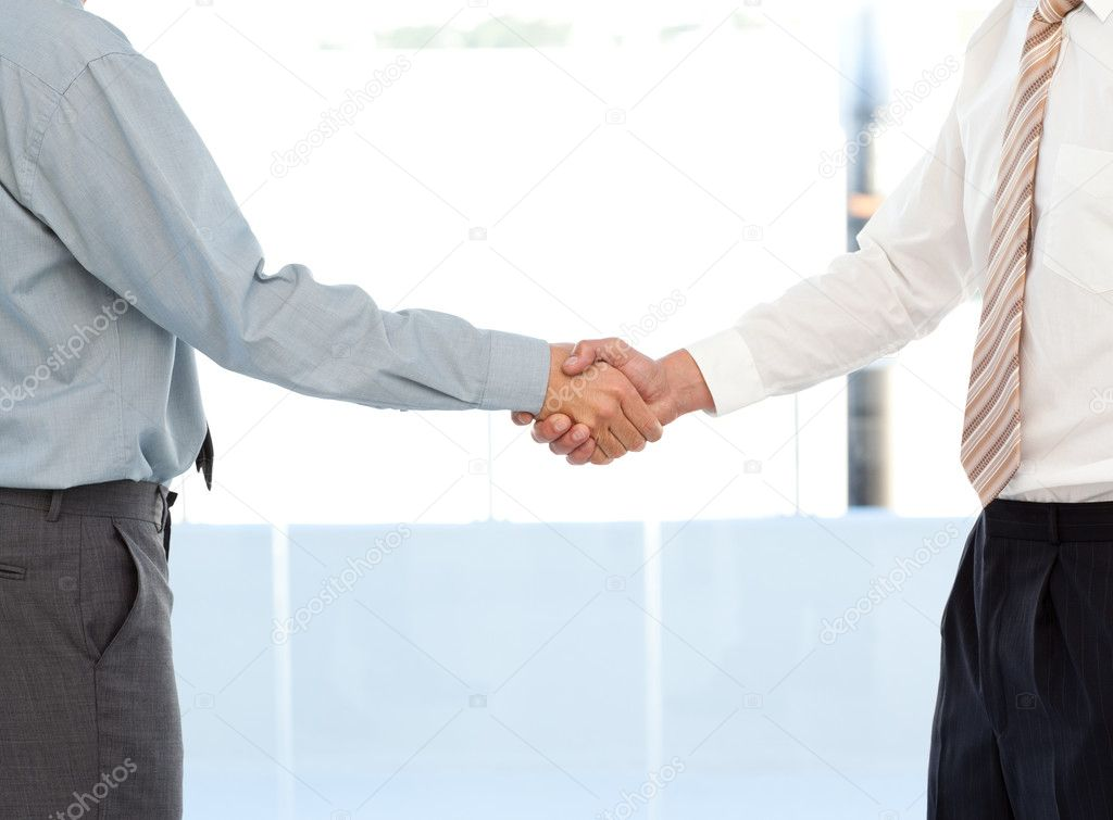 Close up of two businessmen concluding a deal by shaking their hands standing in the office — Stock Photo #10840578