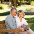 Senior couple working on their laptop — Stock Photo #10850015