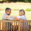 Stock Photo: Happy retired couple sitting on the bench