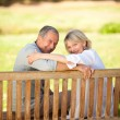 Happy retired couple sitting on the bench — Stock Photo