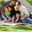 Foto Stock: Joyful family camping