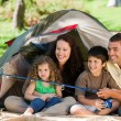 Foto Stock: Joyful family fishing