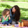 Mother and her daughter picnicking — Stock Photo