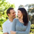 Beautiful couple hugging in the park — Stock Photo #10851164