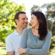 Beautiful couple hugging in the park — Stock Photo #10851166