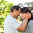 Beautiful lovers in the park — Stock Photo