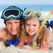 Stock Photo: Brother and sister on beach