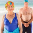 Senior couple at the beach — Stock Photo