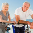 Retired couple with their bikes on the beach — Stock Photo #10853289