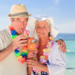 Elderly couple drinking a cocktail on the beach — Stock Photo