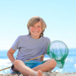 Boy with his fishing net — Stock Photo #10855669