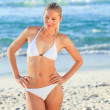 Blonde woman at the beach — Stock Photo