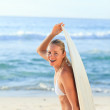Sexy woman with her surfboard — Stock Photo #10856220
