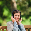 Woman listening to some music — Stock Photo