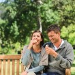 Young couple eating an ice cream — Stock Photo #10856515