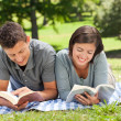 Stock Photo: Couple reading a book