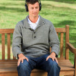 Stock Photo: Relaxed mlistening to some music