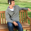 Relaxed man listening to some music — Stock Photo #10856937