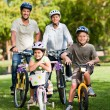 Family with their bikes — Stok Fotoğraf #10857133