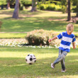 Boy playing football in the park — Stock Photo