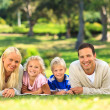Stock Photo: Family lying down in the park