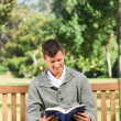 Man reading his book on the bench - Stock Photo