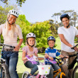 Family in the park with their bikes — Stock Photo