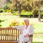 Senior woman on a bench — Stock Photo #10857931
