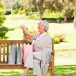 Senior woman after shopping - Stock Photo