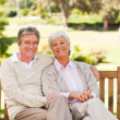 Senior couple on the bench — Stockfoto