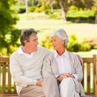 Senior couple on the bench — Stock Photo