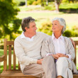 Senior couple on the bench — Stock Photo #10858049