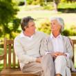 Senior couple on the bench — Stock Photo