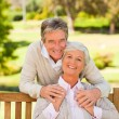 Senior couple on the bench — Stock Photo #10858061