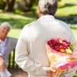 Retired man offering flowers to his wife - Stock Photo