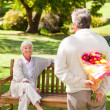 Stock Photo: Retired moffering flowers to his wife