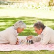 Elderly couple playing chess — Stock Photo