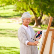 Senior woman painting in the park - Stock Photo