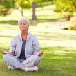 Senior woman practicing yoga in the park — Stock Photo