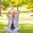Senior woman practicing yoga in the park — Stock Photo #10858550