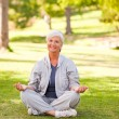 Mature wompracticing yogin park — Stock Photo #10858569