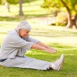 Stock Photo: Retired womdoing her stretches in park
