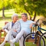 Elderly couple with their bikes — Stock Photo