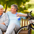 Elderly couple with their bikes — Stock Photo #10858699