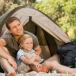 Father and his son camping — Stock Photo