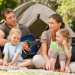 Family camping in the park - Foto Stock