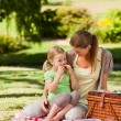 Mother and her daughter picnicking in the park — Stock Photo #10859383
