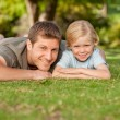 Royalty-Free Stock Photo: Father and his son in the park