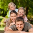 Lovely family in the park — Stock Photo
